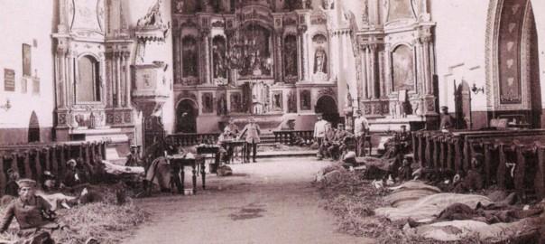 Przasnysz._Lazaret_w_kościele_farnym,_1915